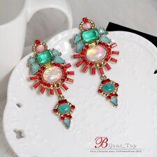 Boucles d`Oreilles Clips Extravagant Art Deco Goutte Vert Rouge Original A5