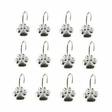 AsgenoX 12PCS Durable Paw Print Shower Curtain Hooks for Doggie Shower Curtain