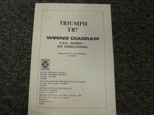 1976 Triumph Tr7 Coupe Electrical Wiring Diagram Manual