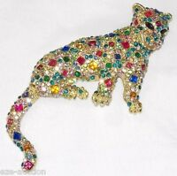 Brooch Pin / Pendant Jaguar With Multi-colored Rhinestone Crystal