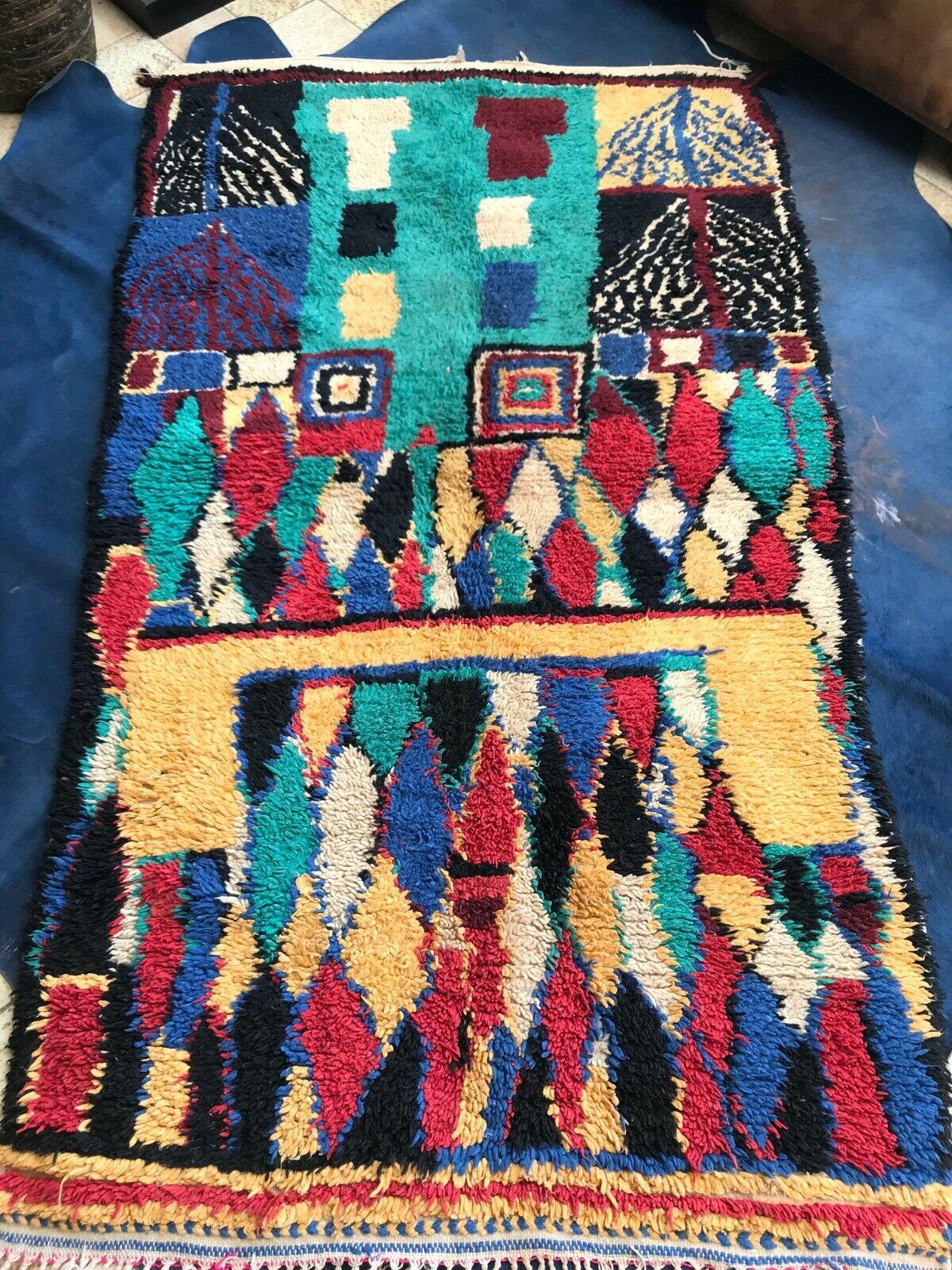 Moroccan VINTAGE azilal beni ourain, wool rug, abstract, wall art- 188 x...