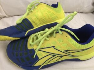 b799ffa974 Details about Women's Reebok Crossfit CF74 Bright Yellow and Blue US 9.5  Gym Shoes