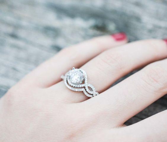 Certified 2.92Ct White Round Cut Diamond Engagement Wedding Ring Sets 14K gold