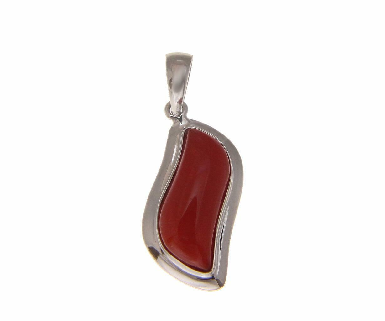GENUINE NATURAL CABOCHON RED CORAL PENDANT SOLID 14K WHITE gold 11.50MM