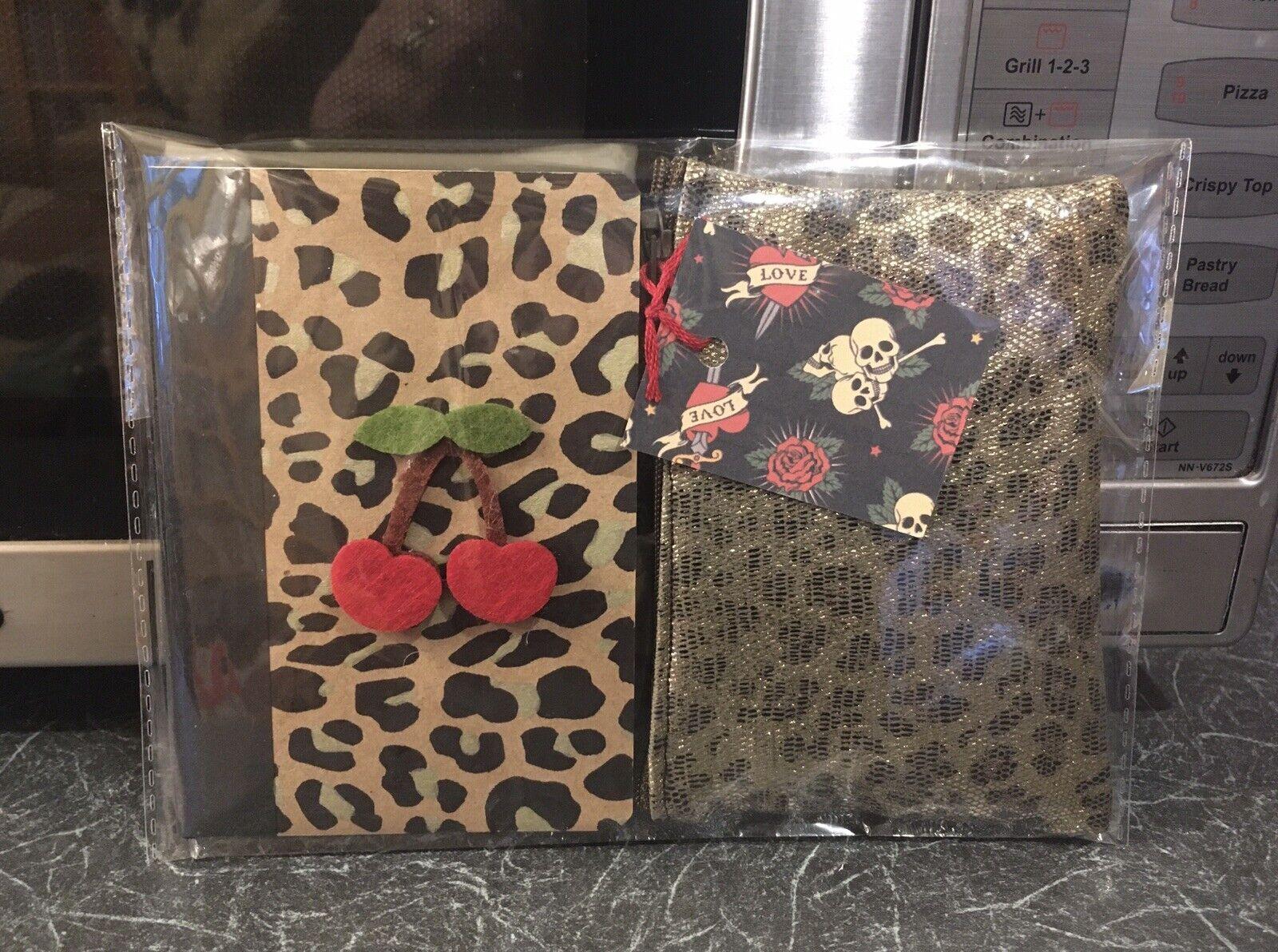 Rockabilly Leopard Print Gold Metallic Purse +🍒Cherry Notebook 2pc Gift Set