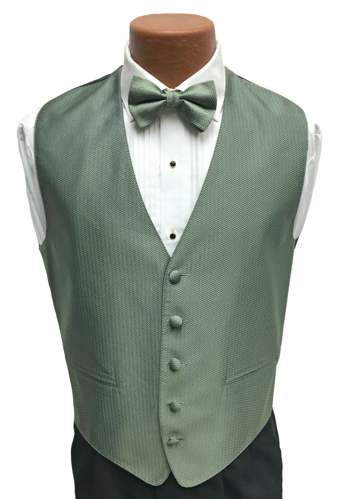 Men's Sage Green Herringbone Tuxedo Vest & Tie Fullback Formal Wedding Groom