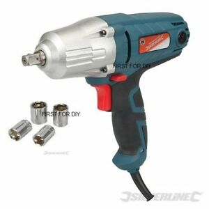 """SILVERLINE 400W ELECTRIC 1/2"""" DRIVE IMPACT WRENCH & SOCKETS 240V 593128"""