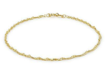 "9ct Yellow Gold 20 Twist Curb Chain Bracelet 23cm//9/"" Thin Womens Anklet Gift Box"