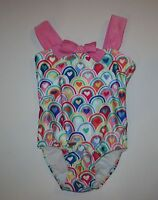 NEW Gymboree Rainbow & Hearts Pink Bow One-Piece Swimsuit NWT 3T 4T 5T Swim Girl