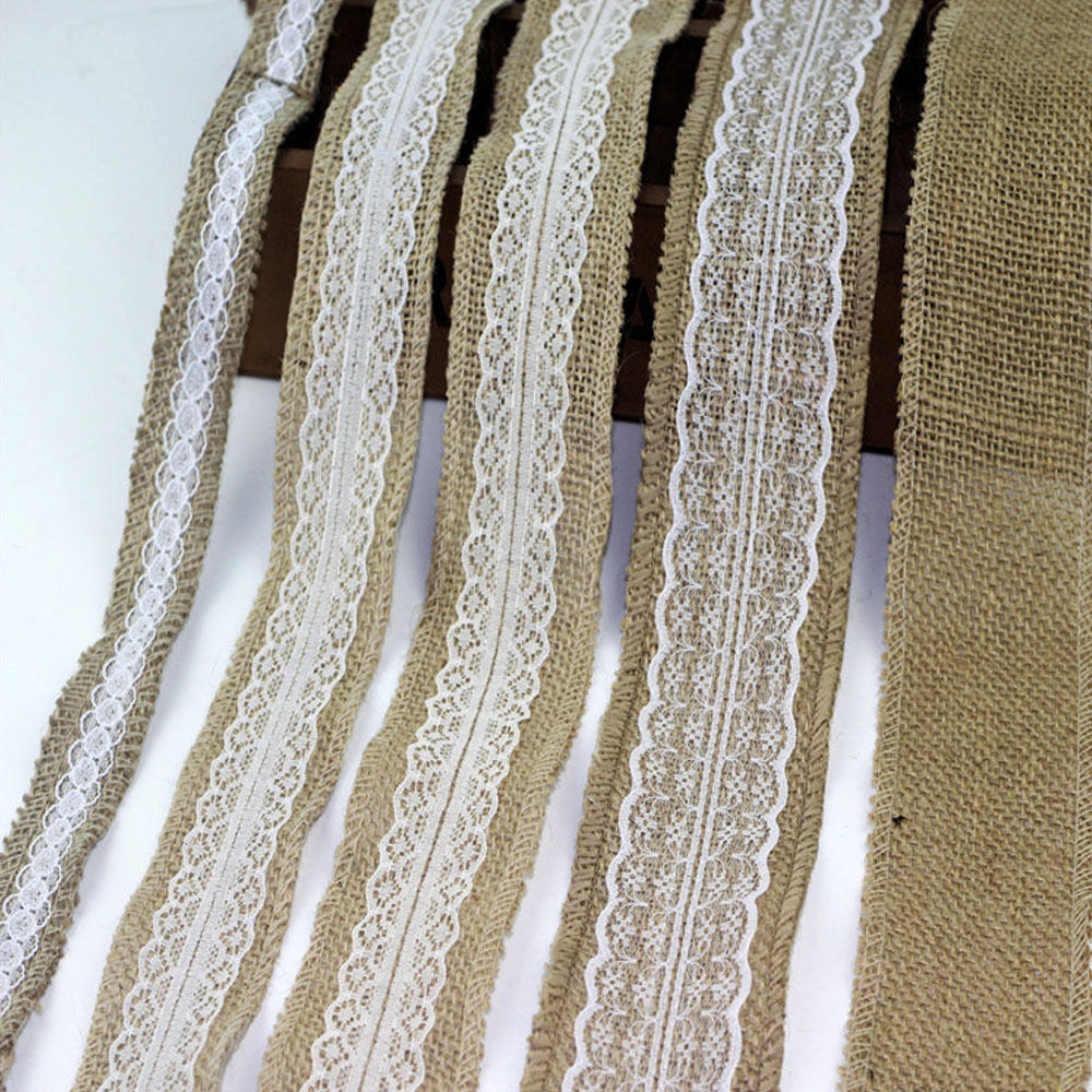 5M Vintage Jute Burlap Hessian Natural Ribbon With Lace Trim Edge Rustic Wedding