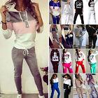 2Pcs Lady Womens Tracksuit Hoodies Sweatshirt Pants Sets Sport Wear Casual Suit
