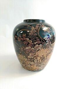Black-Laquer-Japanese-Ginger-Jar-Round-Vase-Gold-Design