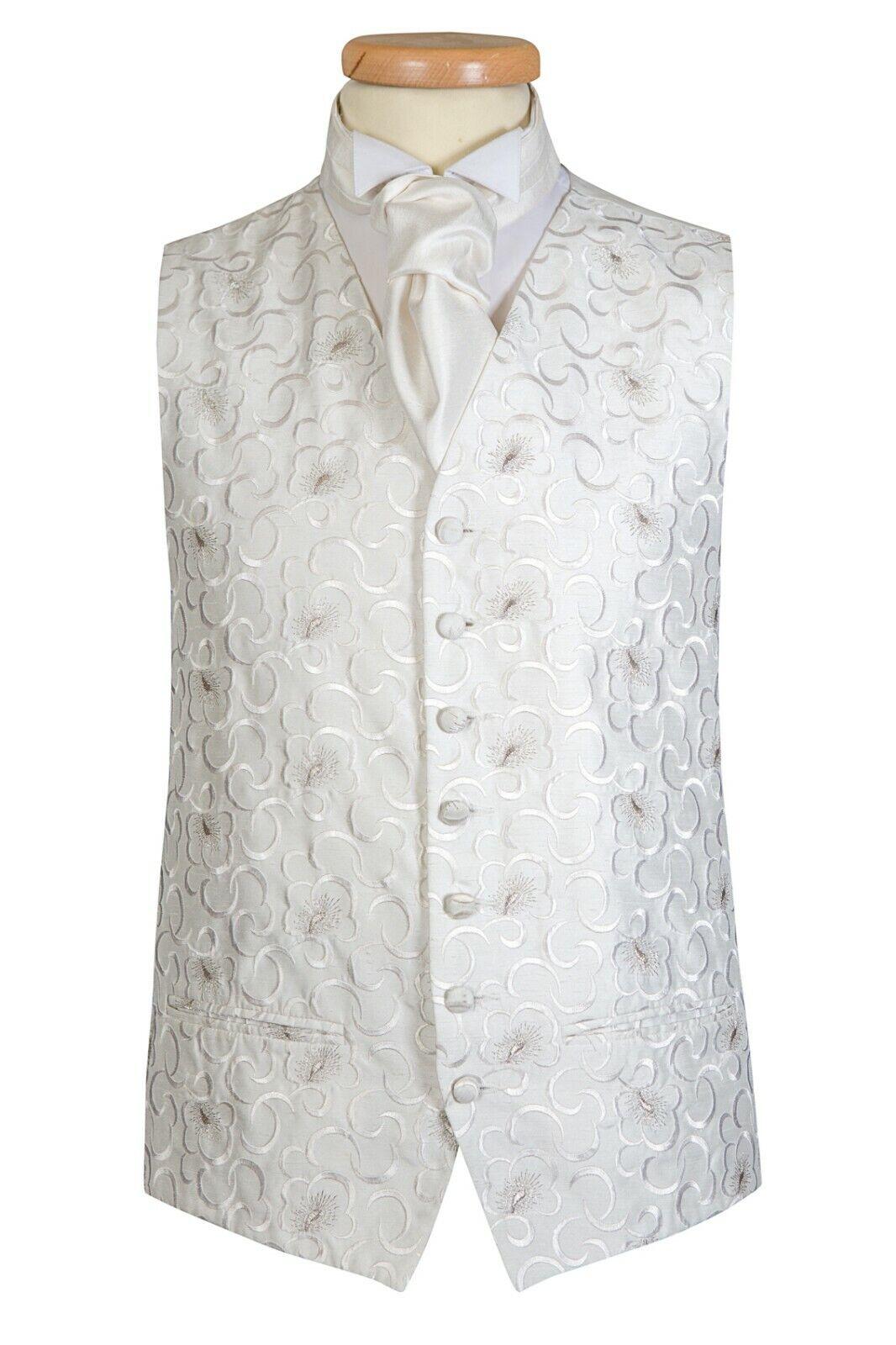 Ivory Silver Thistle Swirl Oslo Wedding Waistcoat vest UK (A24)