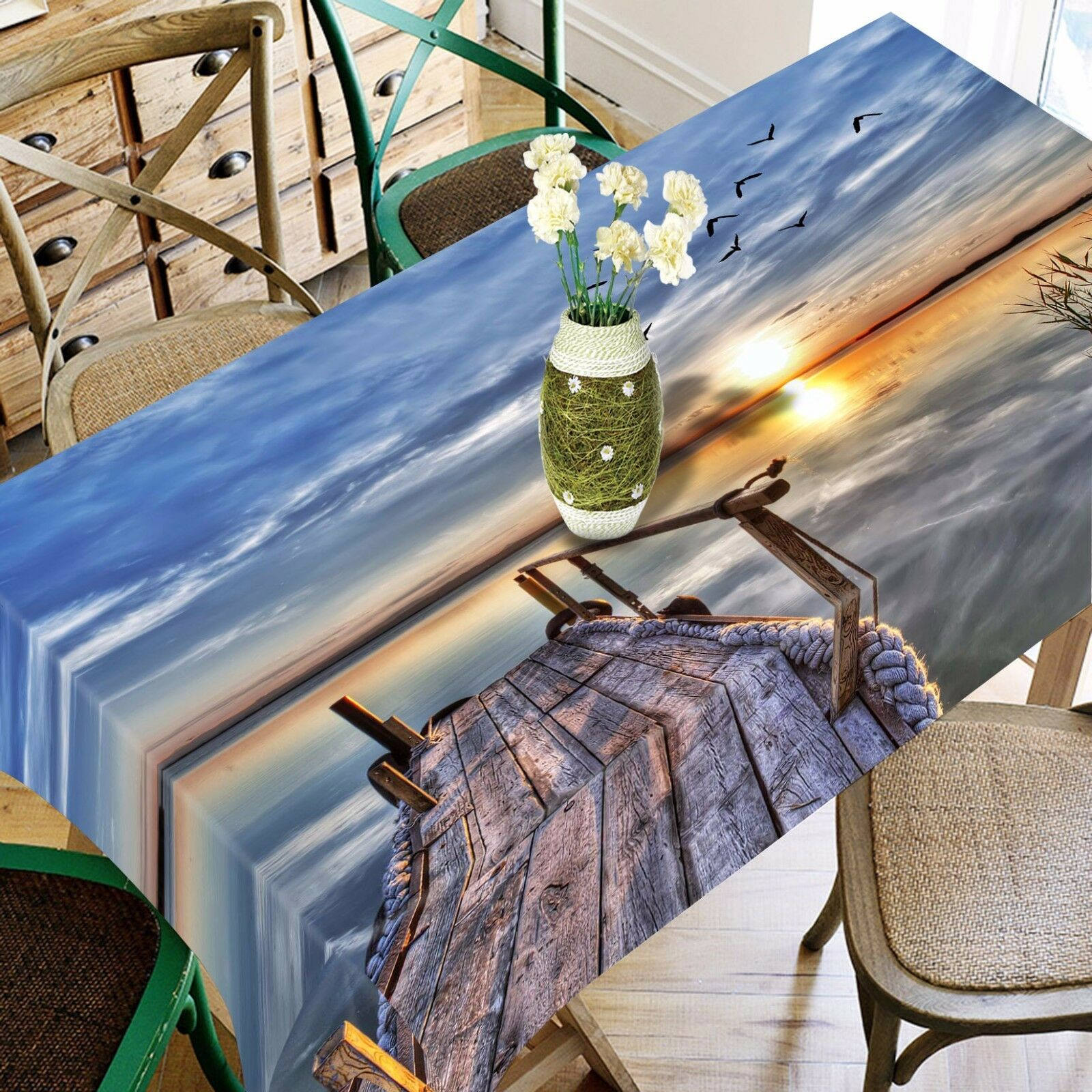 3D Sunset Sea 284 Tablecloth Table Cover Cloth Birthday Party Event AJ WALLPAPER