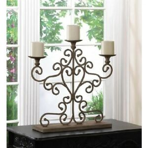 Large 24 Tall Shabby Ivory Distressed Candelabra Fireplace Pillar Candle Holder Ebay