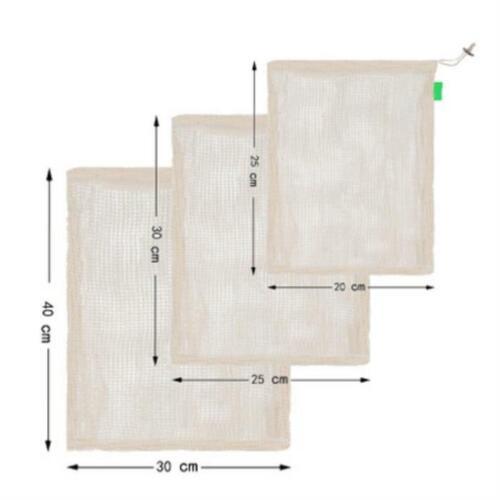 Eco-friendly Reusable Durable Produce Bags Cotton Mesh Storage String Tote Bag Y