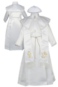 Toddler Boy Baby Christening Baptism Formal Gown with Virgin Mary Stole 0-30 M