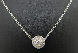 14K-White-Gold-0-25cttw-G-SI-Round-Diamond-Circle-Pendant-Adjustable-Necklace
