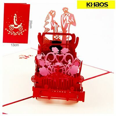 New 3D Pop Up Love Greeting Card Christmas Birthday Wedding Royal Wedding Car