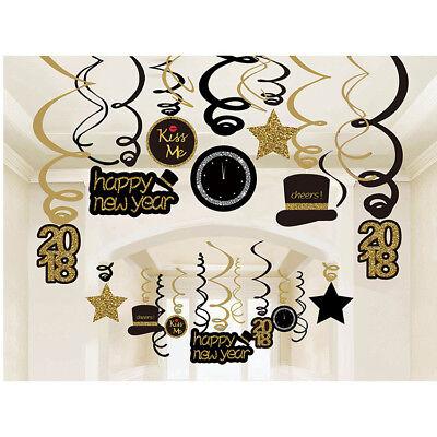 2018 HAPPY NEW YEAR Foil Swirl Decorations Black Silver ...
