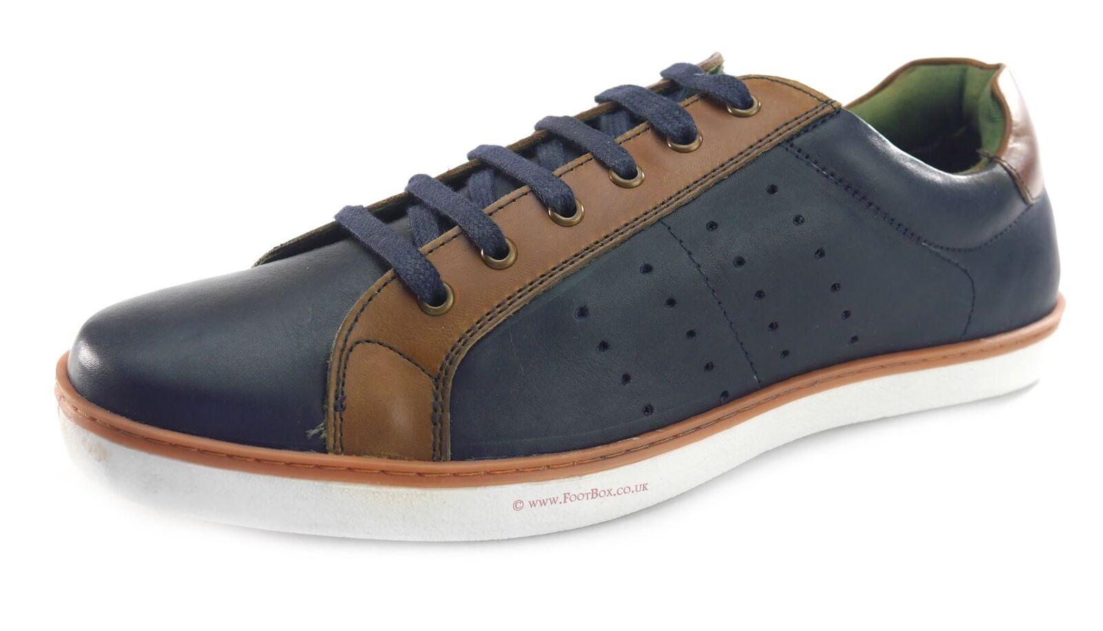 Silber Street Gower Freizeit Leder Schnur Ober Herren Schuhe Marineblau  | Verschiedene Stile und Stile