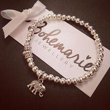 Silver plated elephant charm bracelet gemstone bijoux jewellery boho