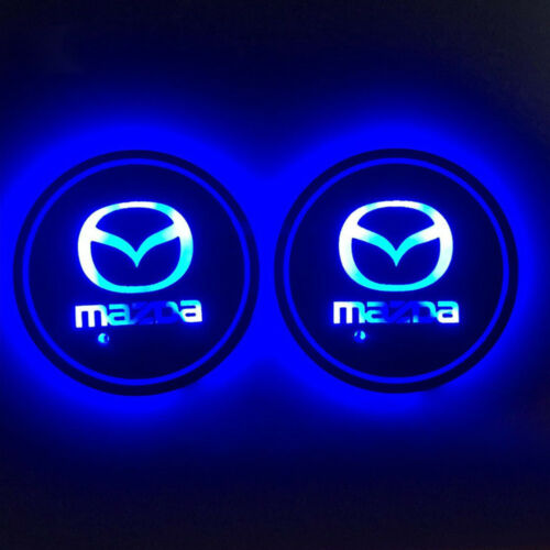 2 Pcs RGB LED Car Cup Holder Pad Mat for Mazda Auto Interior Atmosphere Lights