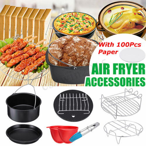 13PCS 7/'/' Air Fryer Accessories Healthy Chips Baking Cake Pizza BBQ Pan Set