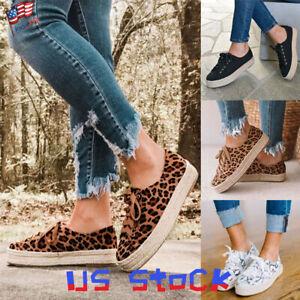 Women-Platform-Espadrilles-Print-Sneaker-Casual-Girls-Flat-Shoes-Tie-Up-Comfy-US