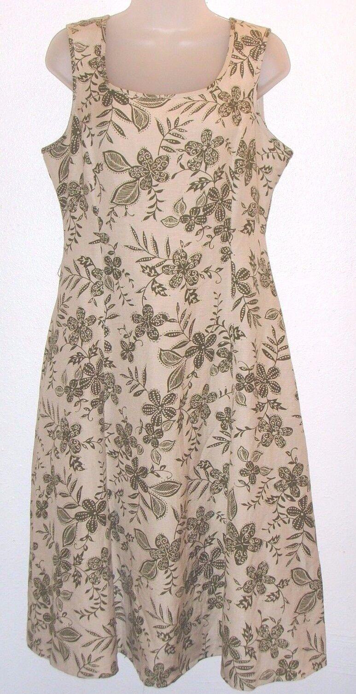 Women's size 10 very light beige floral sleeveless dress (Covington)