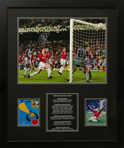 6b3f1fecb Image is loading FRAMED-SOLSKJAER-SIGNED-MANCHESTER-UNITED-CHAMPIONS -LEAGUE-1999-
