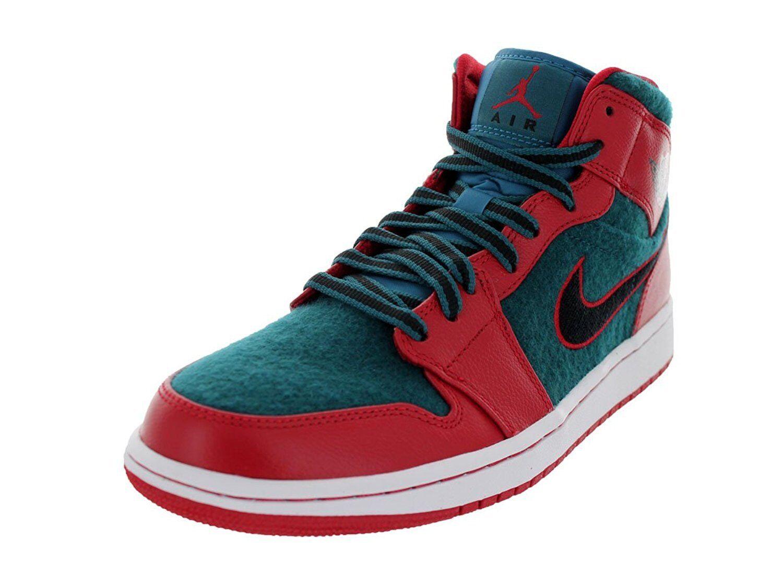 Jordan Retro 1 Mid Hombres Ante verde Baloncesto Zapato Puntera rojoonda