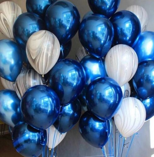 Blue Balloons 6x Chrome Metallic Balloon Party Wedding boys Birthday baby shower