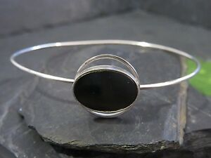 Eleganter-Silber-835-Armreif-Vintage-Retro-Onyx-70er-Space-Age-Schwarz-Duenn