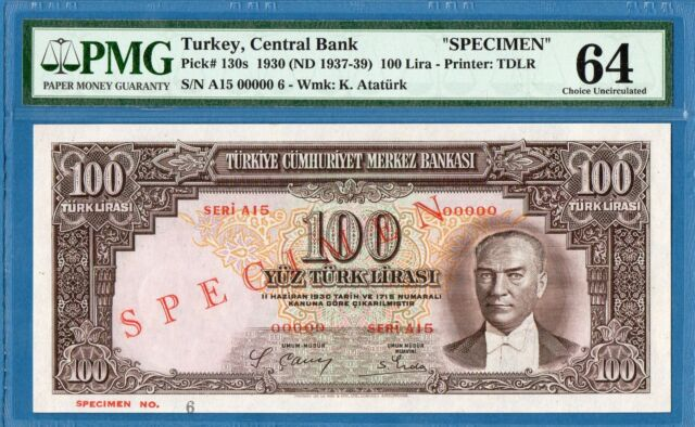 Turkey, 100 Lira, 1930 (ND 1937-39), 00000 Specimen, UNC-PMG64, P130s