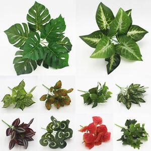 Details about Flower Artificial Plants Fake Plastic Foliage Office Leaf  Garden Bush Wall Decor
