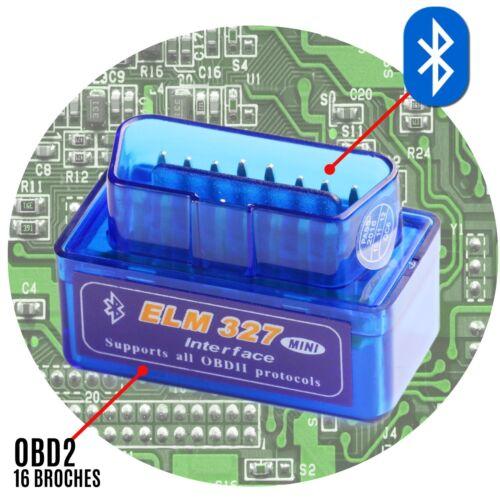 Puce ELM327 prise diagnostic OBD2 lecteur code defaut bluetooth