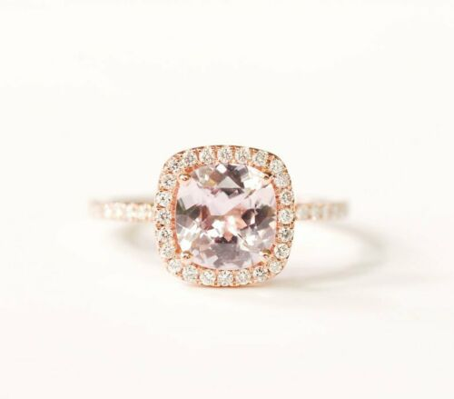 1Ct Cushion Cut Peach Morganite 14K Rose Gold Over Halo Engagement Women/'s Ring