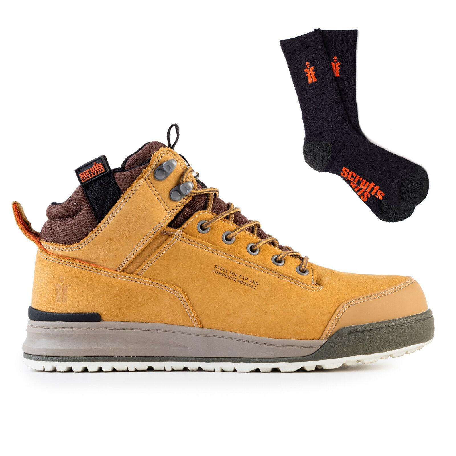 Scruffs Switchback   Herren Safety Work Stiefel Steel Toe Worker TAN with 3 Pack Worker Toe Socks 9e268e