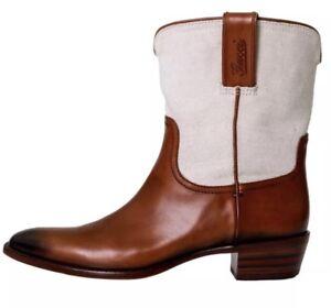 Gucci-Cowboy-5966-Brown-Canvas-Leather-171084-Western-Boots-Sz-10-B