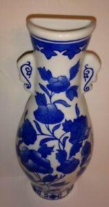 "Floral Design COBALT BLUE & White Porcelain WALL POCKET Vase w/ Faux Handles 10"""