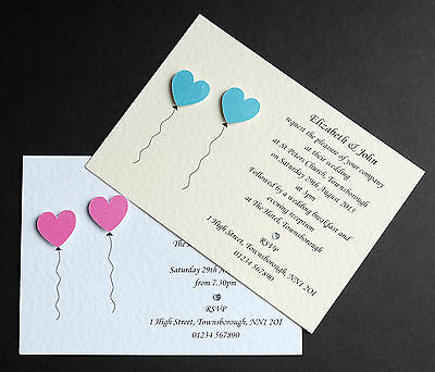 15 Handmade Personalised Wedding Invitations Free P&P **Many Colours**