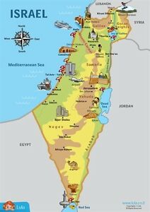 Childrens Illustrated Map Of Israel For Kids Magnetic Map EBay - Isreal map