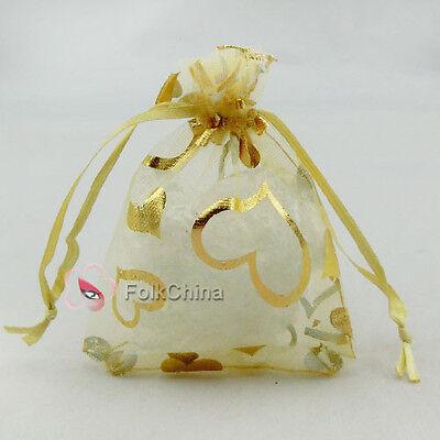 Gold Heart Yellow Organza Wedding Favour Gift Bags Pouches 7x9,9x12,13x17cm
