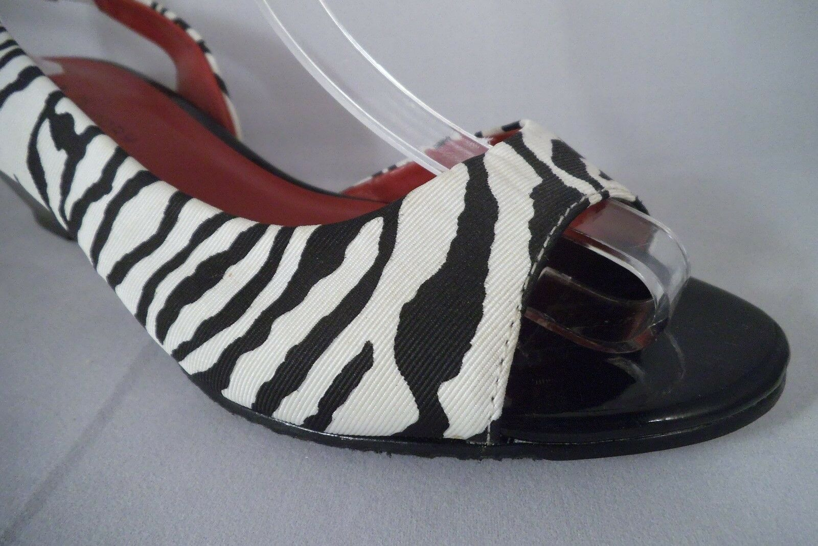 NEW CL by LAUNDRY nero bianca ZEBRA PRINT OPEN TOE Dimensione 8.5 MED SLING BACK