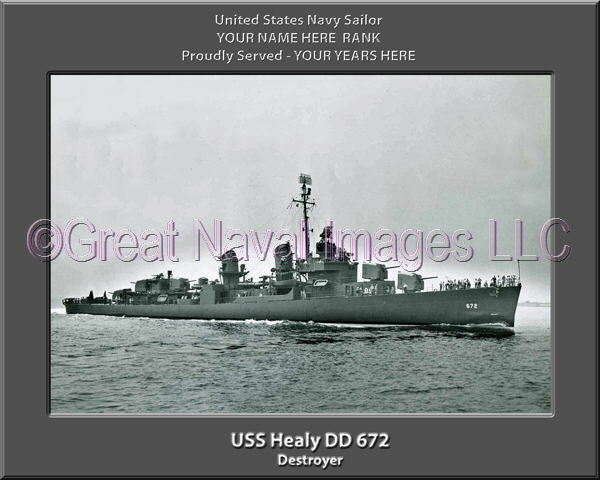 USS Healy DD 672 Personalized Canvas Ship Photo Print Navy Veteran Gift