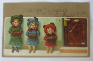 New-Year-Children-Fashion-Muff-Hatmode-1908-Embossed-Postcard-67476