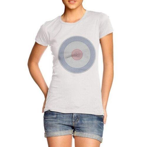 Women/'s Rhinestones Crystal Gems Diamante Bullseye Target Bling T-Shirt