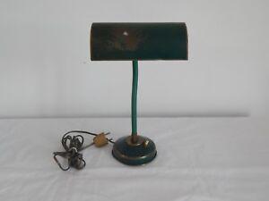 Ancienne lampe de bureau en laiton tôle et bras flexible années