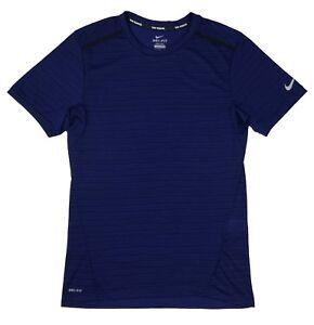 ce7c5f8c Details about Nike Mens Cool Tailwind Stripe Dri-Fit Short Sleeve Running  Shirt Blue/Purple Ne